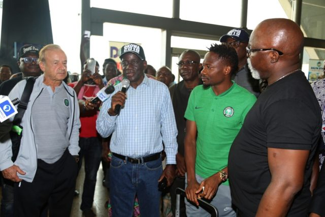 AFCON 2019: Super Eagles return to Nigeria, received in Asaba by Okowa