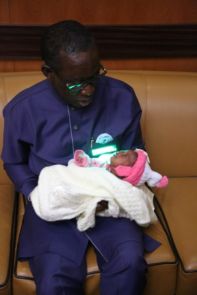 PDP campaign ground baby visits Okowa, gets N2m gift