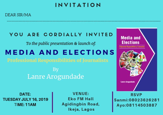 Arogundade's book on election reporting for launch