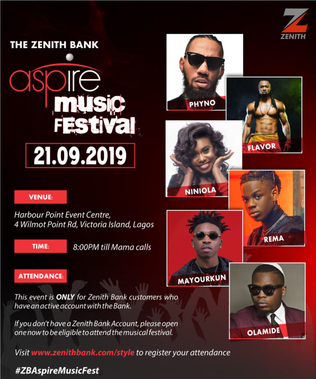 Zenith Bank features Nigeria's top artistes in 'Aspire Music Festival'