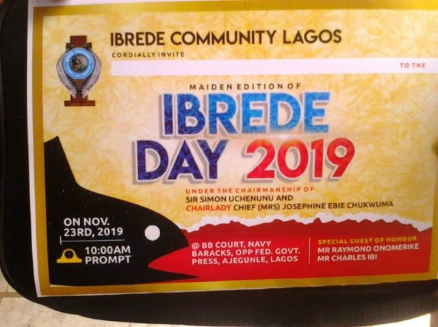 Ibrede Day holds in Lagos on Saturday to promote unity