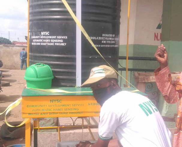 COVID-19: Corps member donates hand-sensing water dispenser to park